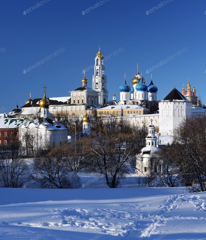 Sergiev Posad monastery at winter