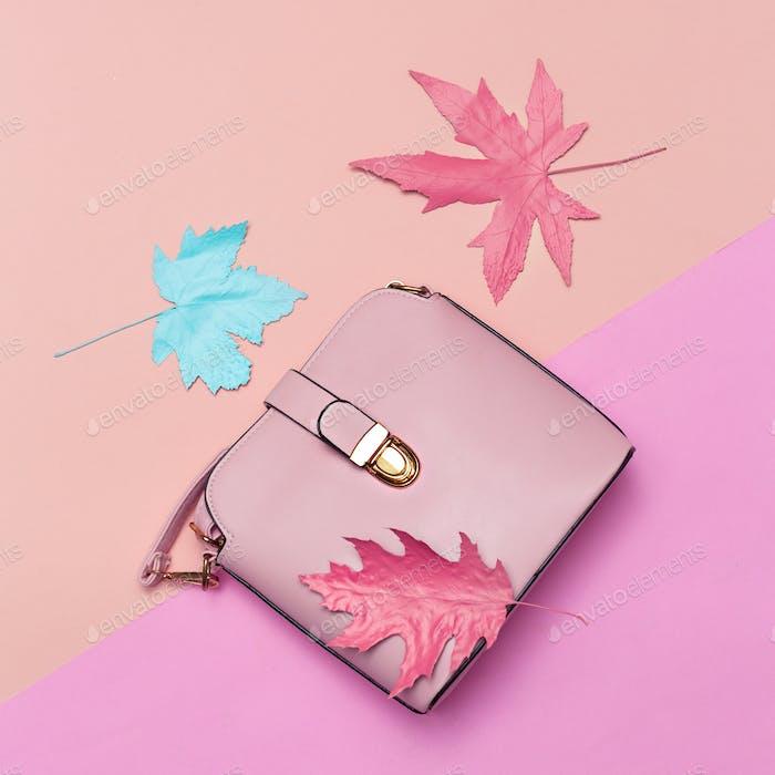 Fashionable Pink Bag for Lady. Spring vibration. Concept Minimal
