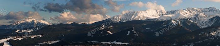 Panoramic view of Tatra Mountain and Zakopane from Gubalowka Peak