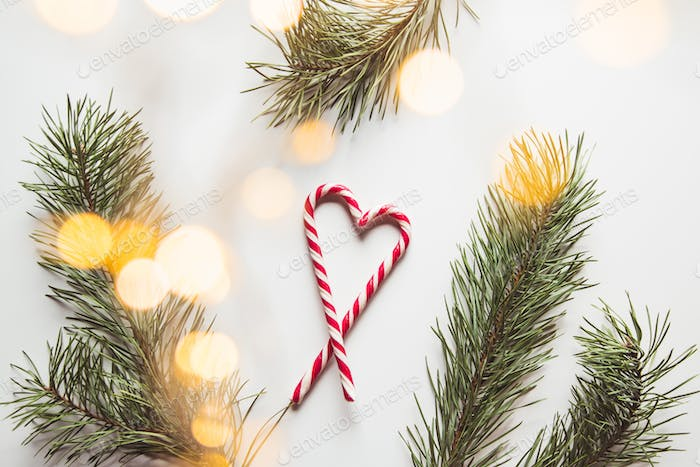 Heart shape made of tasty candy canes and fir tree twig on color background, top view Space for text