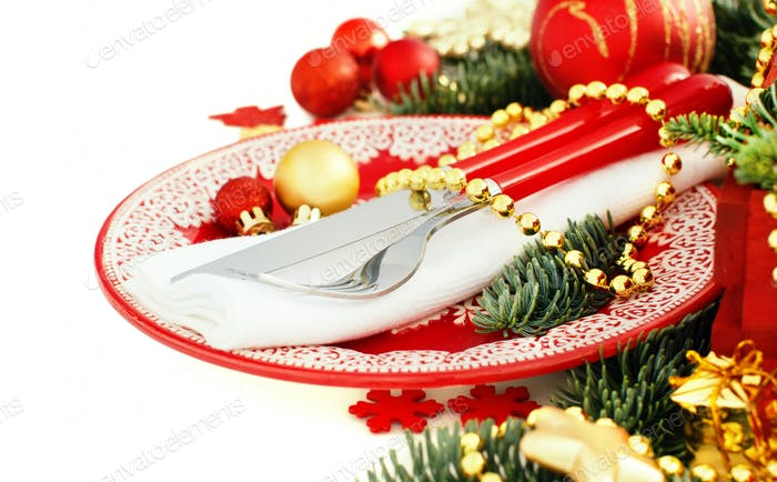 Red and golden festive table setting