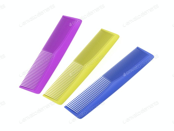 Three plastic hair combs