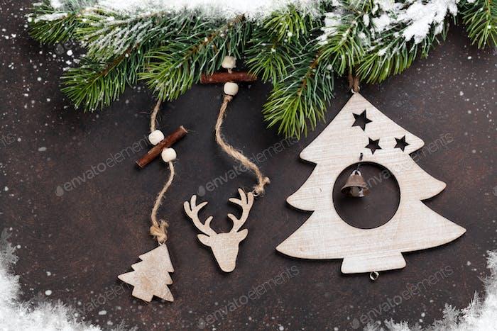 Christmas snow fir tree and decor