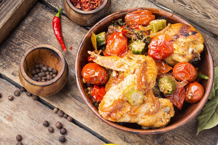 Baked chicken in vegetables