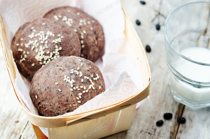 black beans buns with sesame seeds