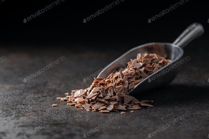 Grated dark chocolate. Chocolate flakes.