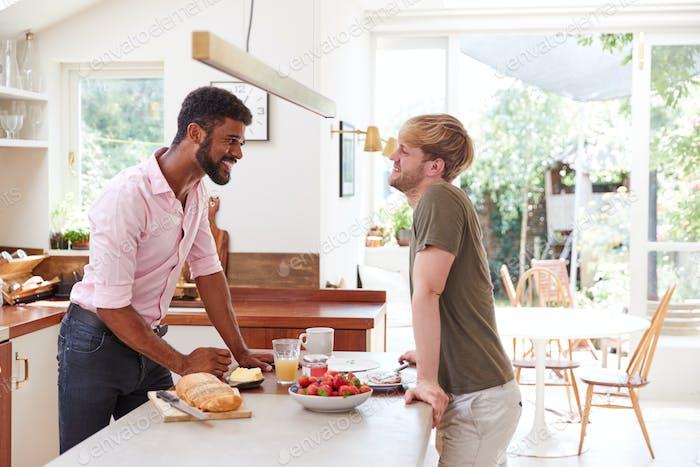 Männlich Homosexuell Paar zu Hause in Küche machen Frühstück zusammen