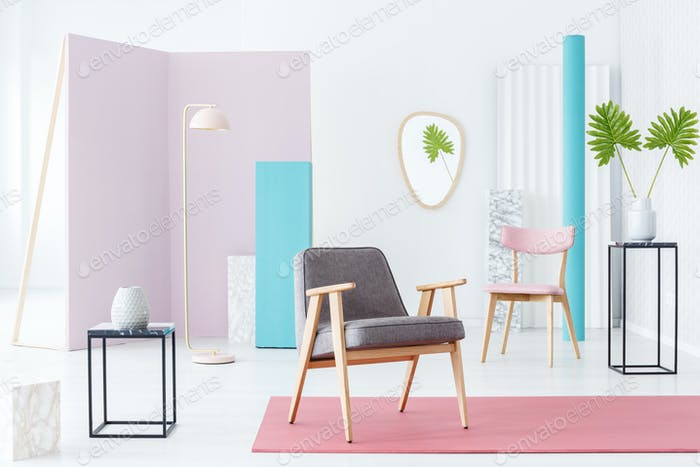 Armchair in pastel room