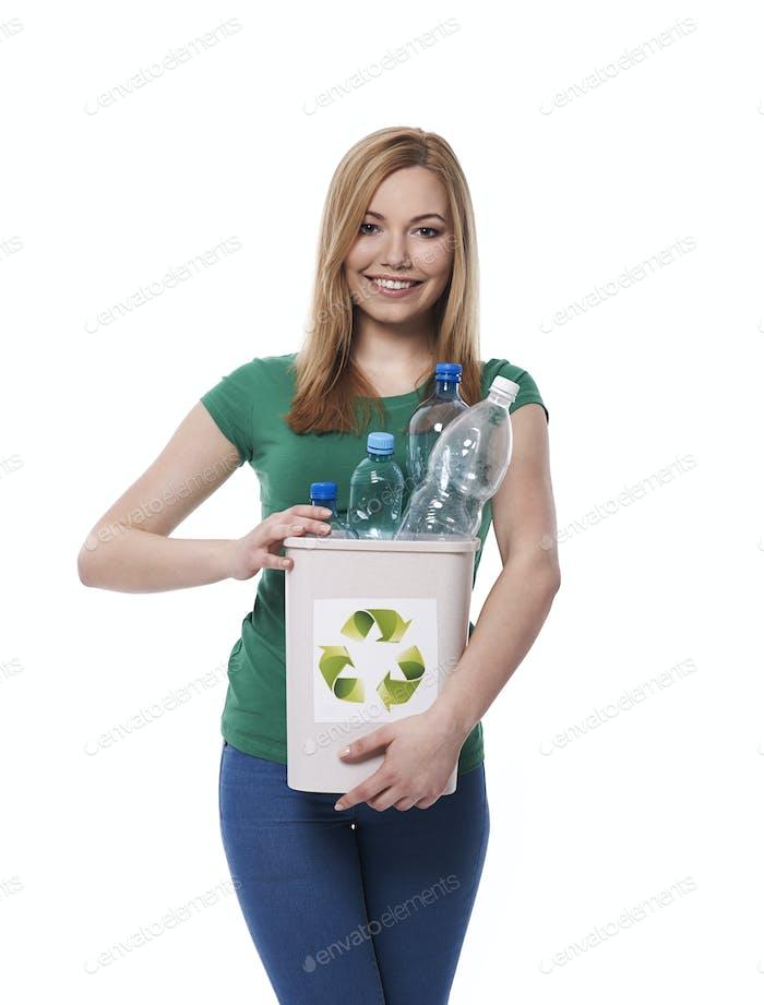 Put plastic bottle for right bin