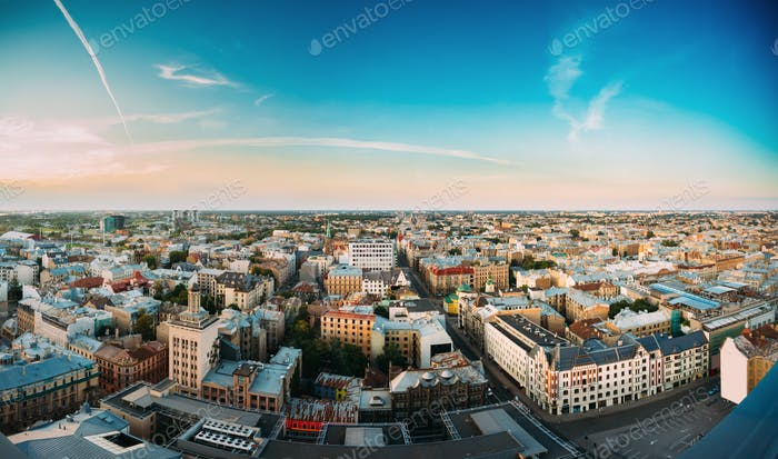 Riga, Latvia. Riga Panorama Cityscape. Top Aerial View Of Baznic