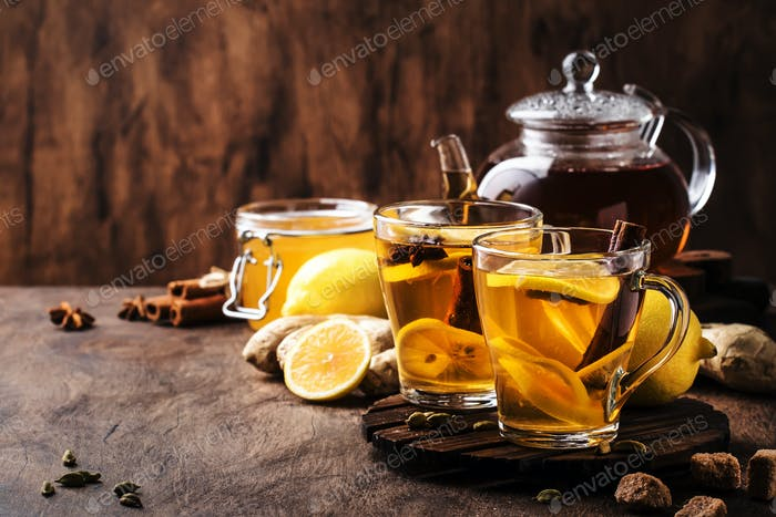healing tea with ginger, honey, lemon