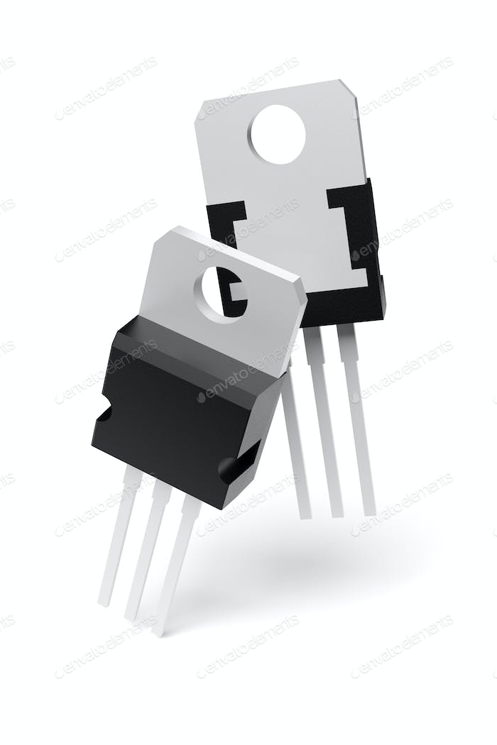 Electronic component in TO-220 package isolated on white. 3D rendering.