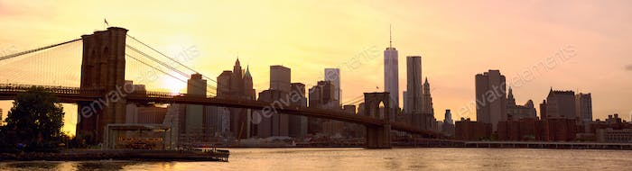 New York City panorama at sunset