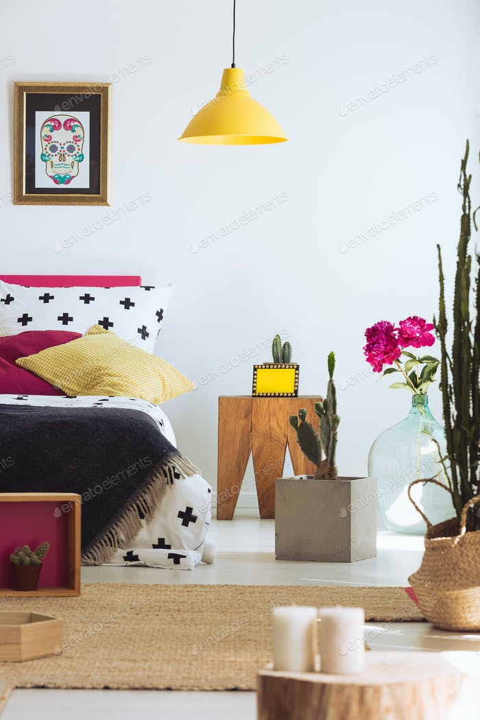Folk modern bedroom with cactus