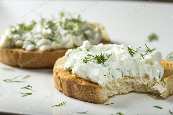 Open sandwich with homemade cheese cream