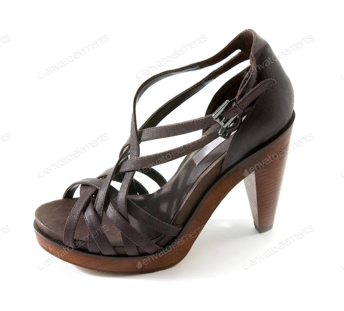 Wooden high heeled brown leather sandal