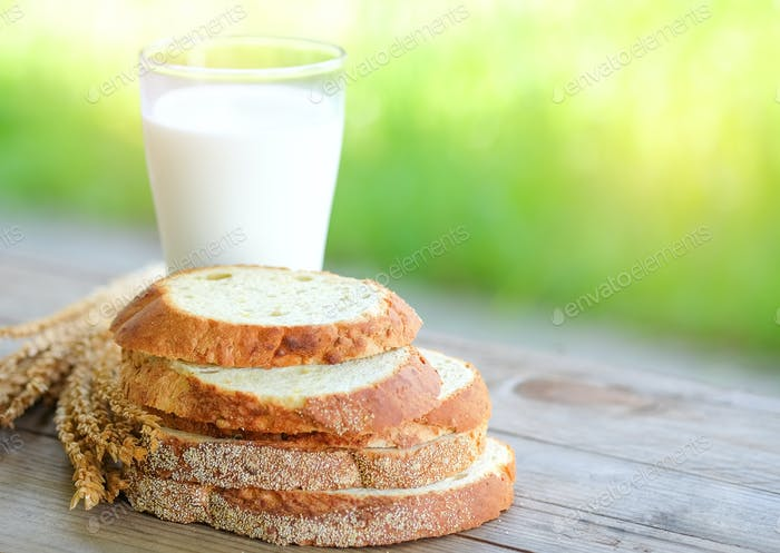 Bread cut pieces  with milk glass on wooden table,green blurred