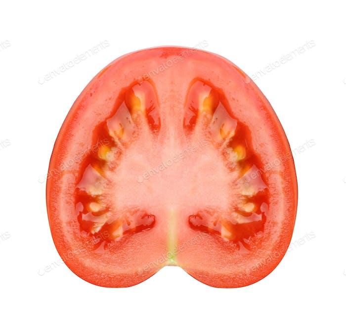 Tomatenscheibe isoliert auf weiß