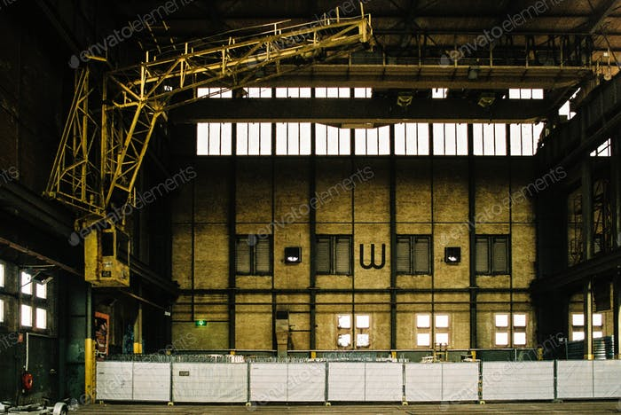 Yellow Crane in a Warehouse