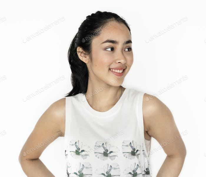 Young Asian girl portrait isolated