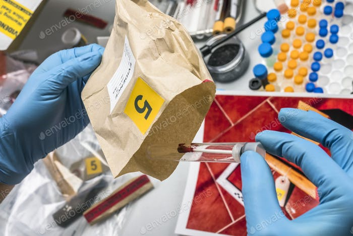Police expert gets blood sample from glass bottle in Criminalistic Lab, conceptual image