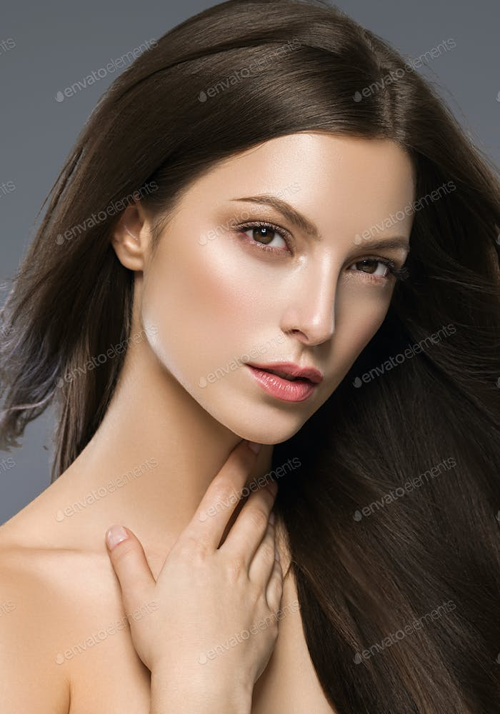 Long Hair Brunette Woman Natural Fashion Make Up