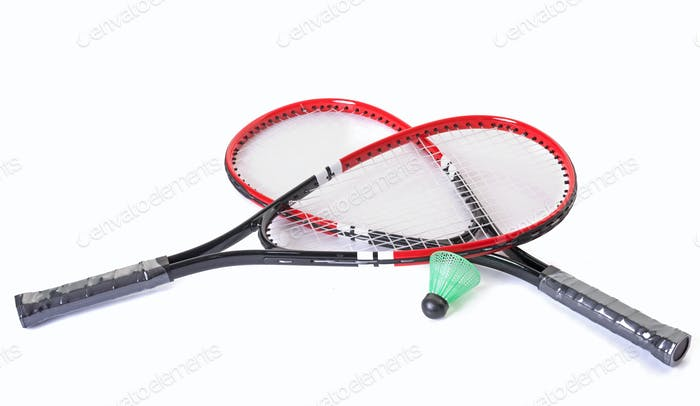 racket and shuttlecock of badminton