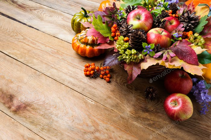 Thanksgiving or fall greeting with apples, rowan berries, copy s