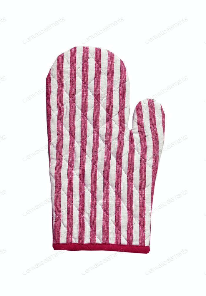 Pink striped kitchen glove isolated on white