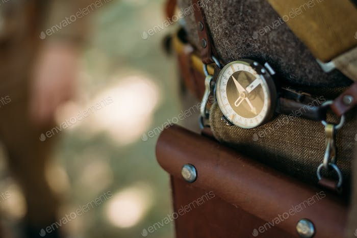 Soviet military compass on military uniform