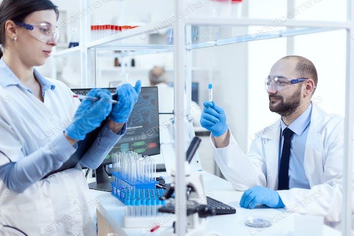 Pharmacology scientist engineering genetic material