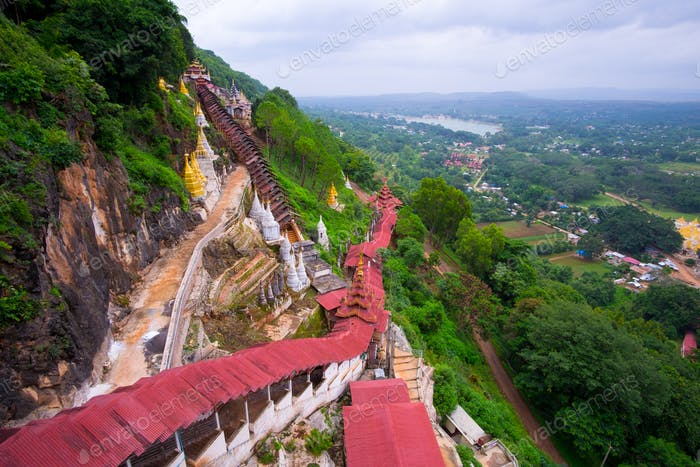 Colorful red staircase roofs and beautiful landscape at Pindaya