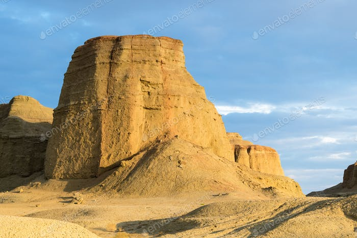 xinjiang wind erosion landform closeup,  urho ghost city at dusk