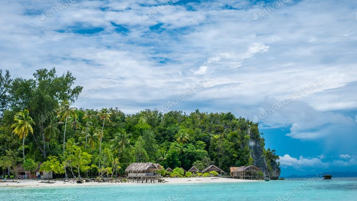 Paradise in Water Hut of Homestay on Kri Island. Raja Ampat, Indonesia, West Papua