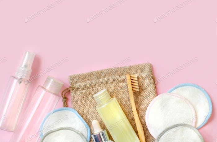 Sustainable bathroom and lifestyle concept on pink background