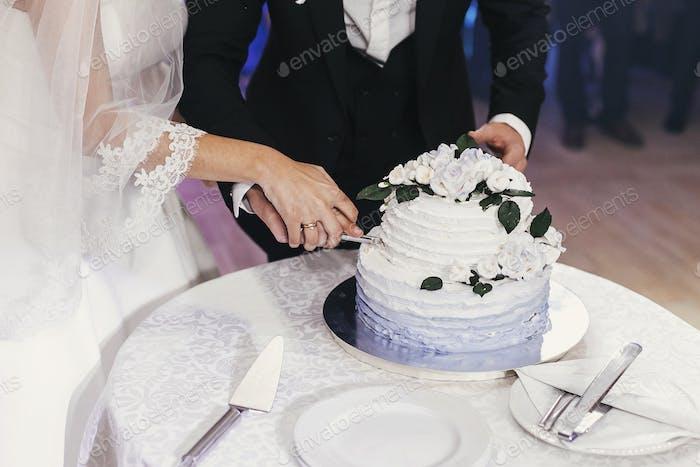 великолепная невеста и стильный жених резки их стильный свадебный торт