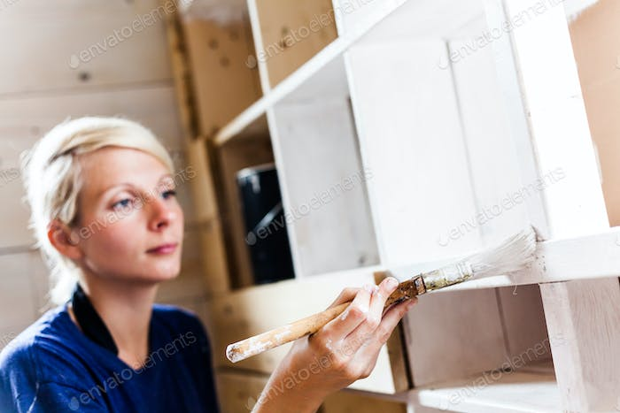 Woman Applying the First layer of Paint on a Wooden Library