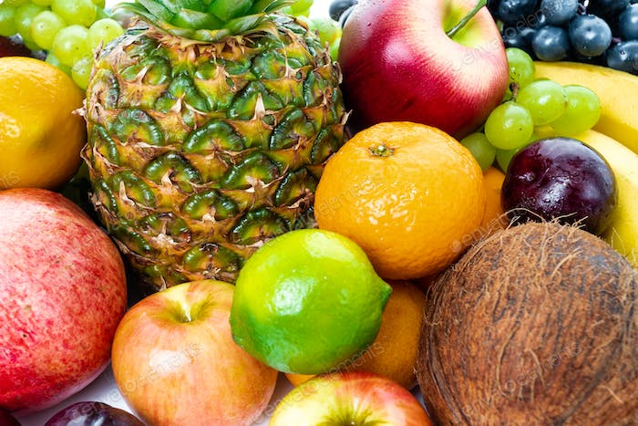 composition with a lot of differrent fruits. exotic fruits