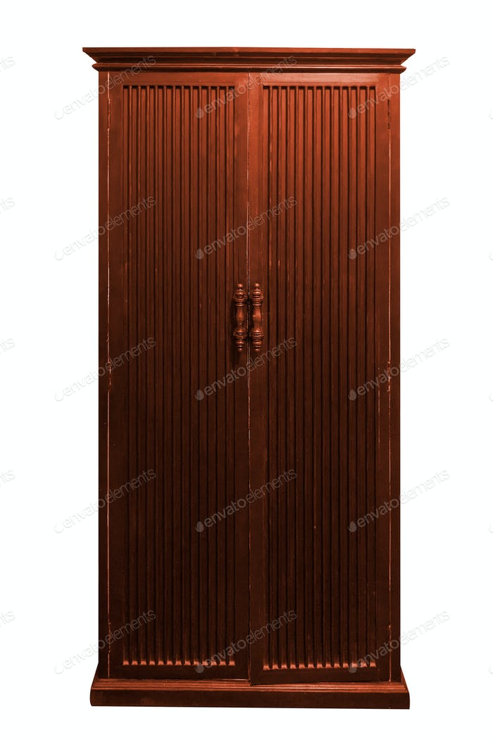 Wooden wardrobe isolated.