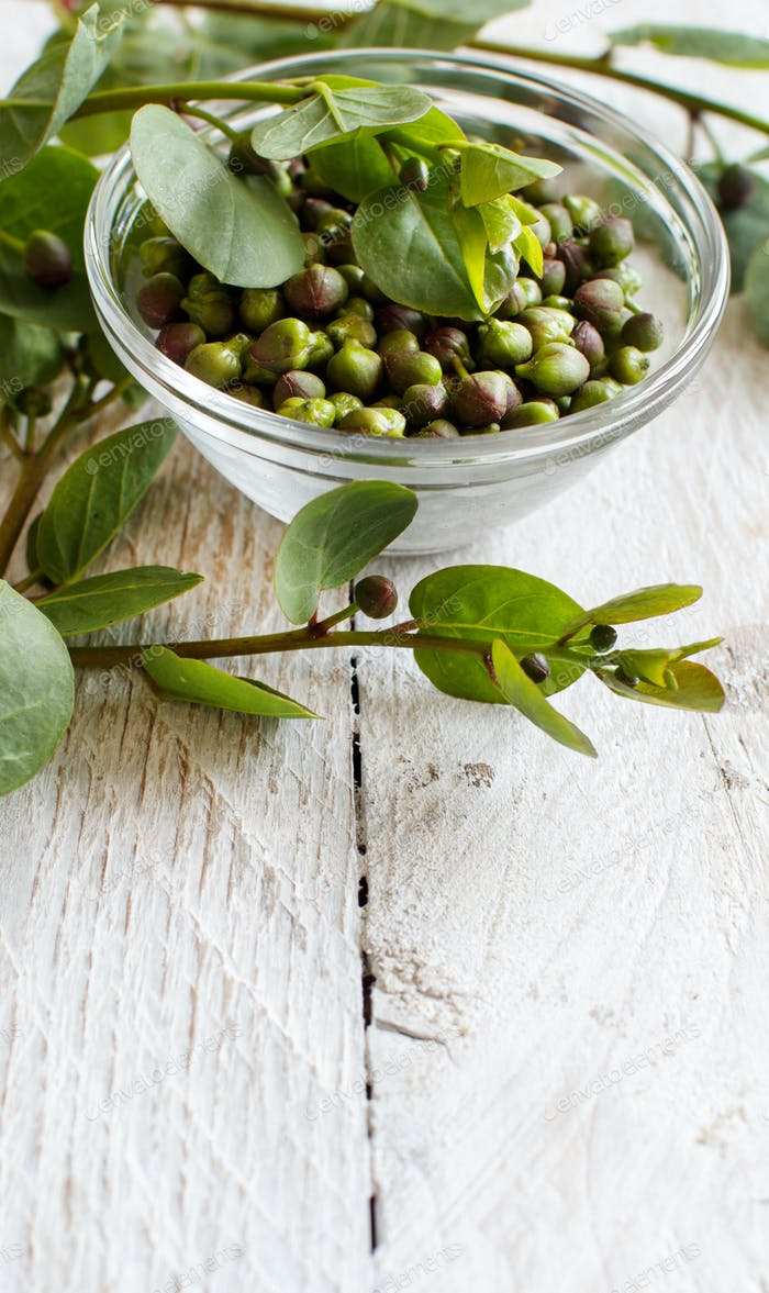 Fresh capers and capers branches