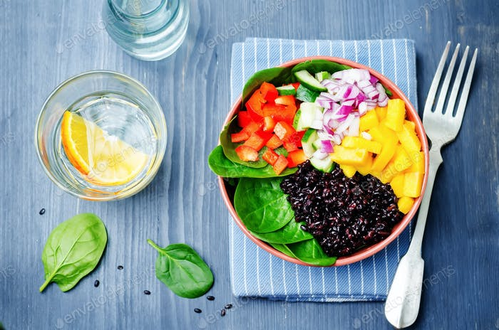 spinach, mango, black rice, pepper salad