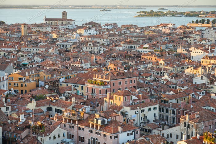 Elevated view of Venice with roofs buildings and sea, Italy