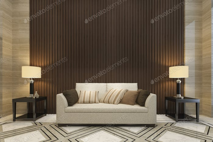 3d rendering mock up wood decor in living room with sofa classic style