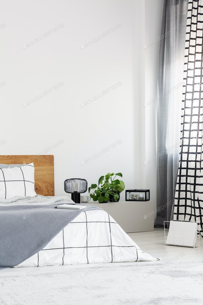 Elegant bedroom with white wall and chequered bedding