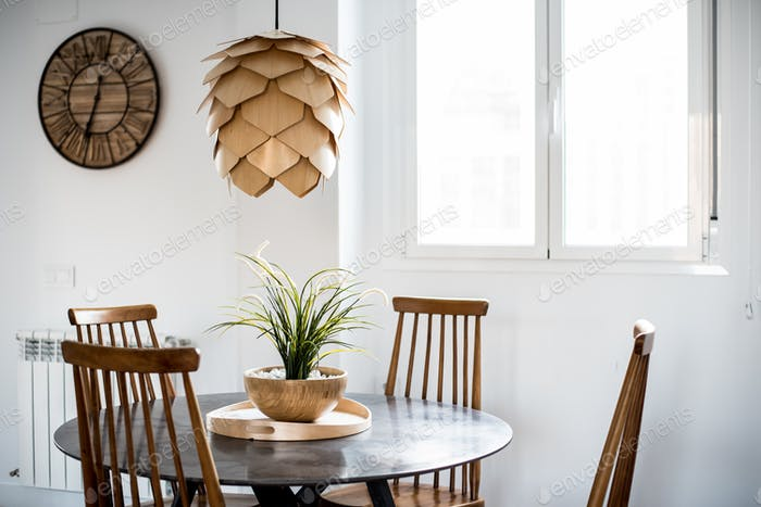 Interior design house and modern wooden table and chair