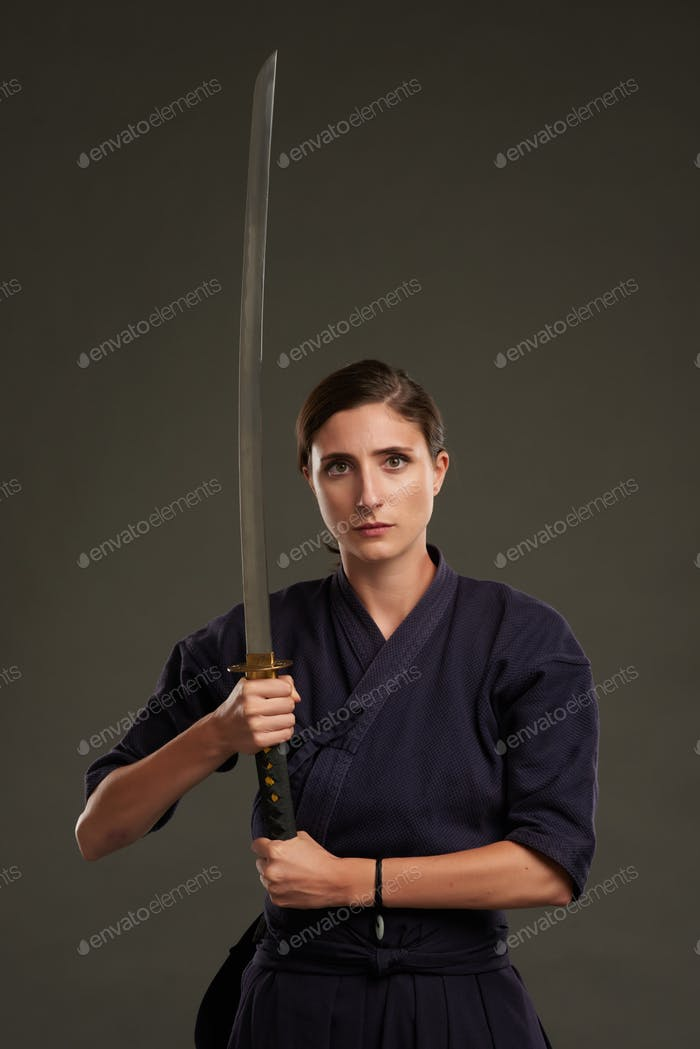 Posing with samurai sword