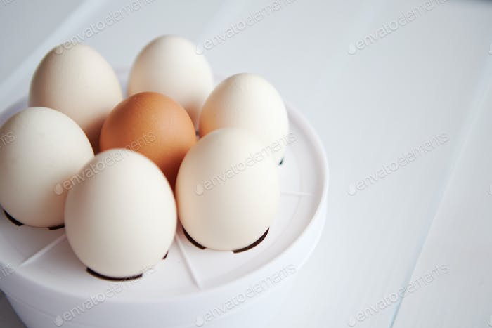 Chicken eggs in a egg electric cooker on a white wooden table