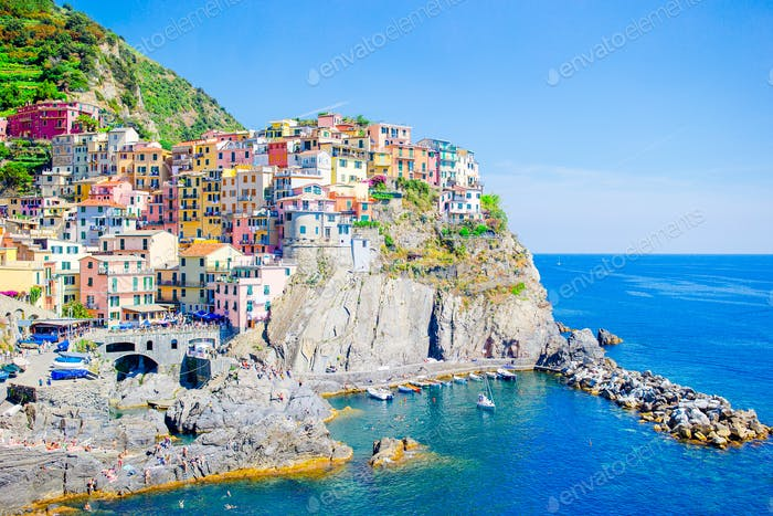 Beautiful view of the amazing old village in the Cinque Terre reserve. Liguria region of Italy