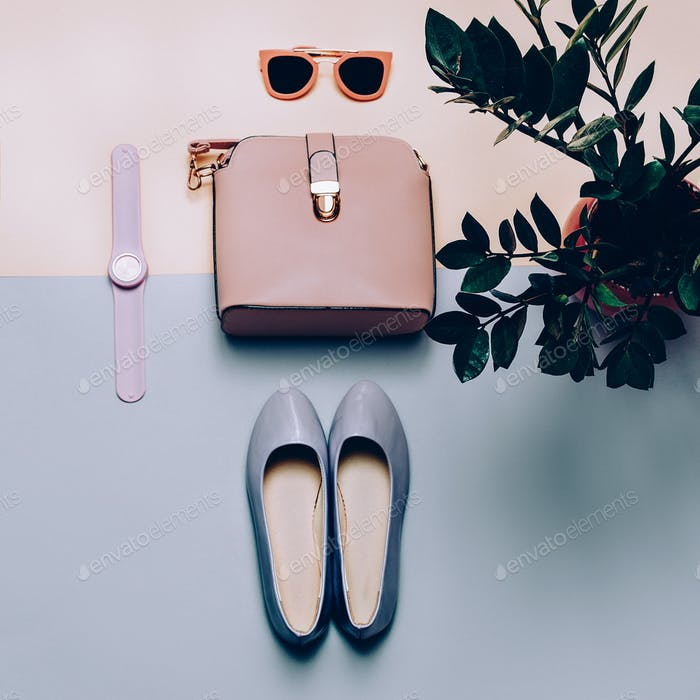 Ladies Fashion Accessories. Pink bag and sunglasses. Trendy Shoe