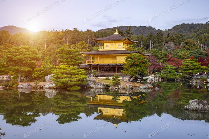 The Golden Pavilion. Kinkakuji Temple in Kyoto, Japan